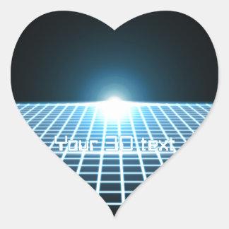 3D-Grid que brilla intensamente con el texto Pegatina En Forma De Corazón