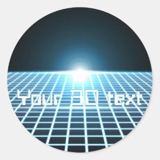 3D-Grid que brilla intensamente con el texto Pegatina Redonda
