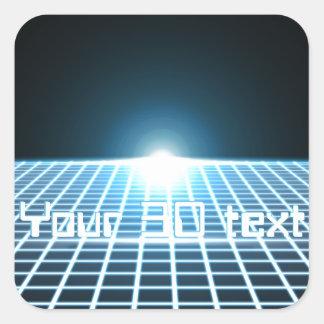3D-Grid que brilla intensamente con el texto Pegatina Cuadrada