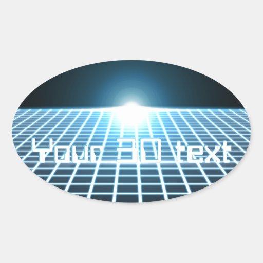 3D-Grid que brilla intensamente con el texto Pegatina Ovalada