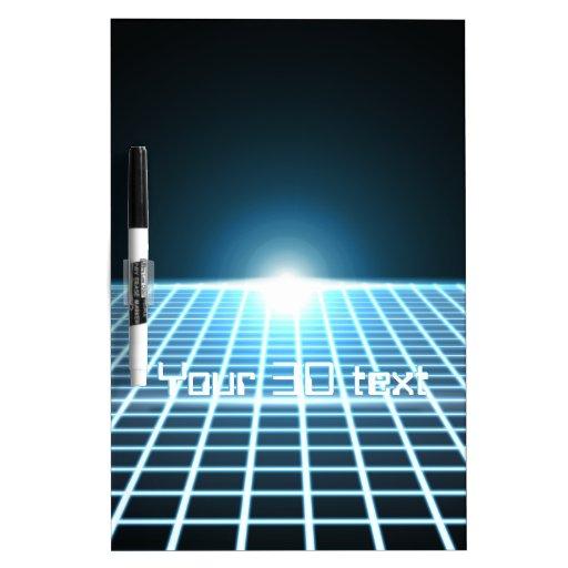 3D-Grid que brilla intensamente con el texto Pizarra