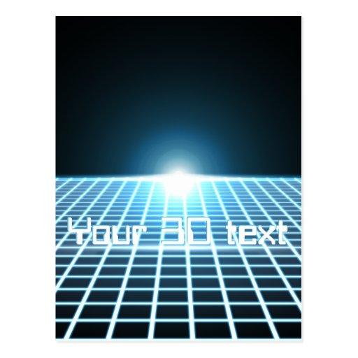 3D-Grid que brilla intensamente con el texto Tarjetas Postales