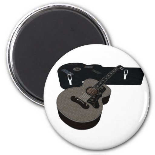 3D Halftone Acoustic Guitar & Case 2 Inch Round Magnet