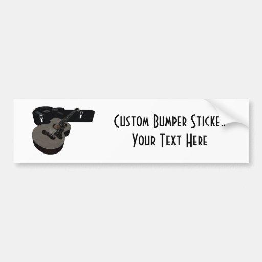 3D Halftone Acoustic Guitar & Case Bumper Sticker