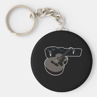 3D Halftone Acoustic Guitar & Case Keychain
