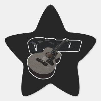 3D Halftone Acoustic Guitar & Case Star Sticker