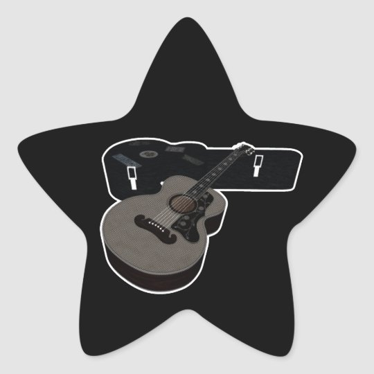 3D Halftone Acoustic Guitar & Case Star Sticker