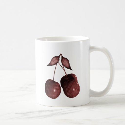 3D Halftone Cherries Retro Red Mugs