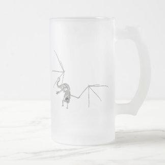3D Halftone Flying Dragon Skeleton 1 Frosted Glass Beer Mug