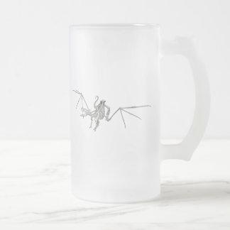 3D Halftone Flying Dragon Skeleton 2 Frosted Glass Beer Mug