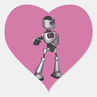 ♪♫♪ 3D Halftone Sci-Fi Robot Guy Dancing Heart Sticker