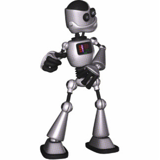 ♪♫♪ 3D Halftone Sci-Fi Robot Guy Dancing Acrylic Cut Outs