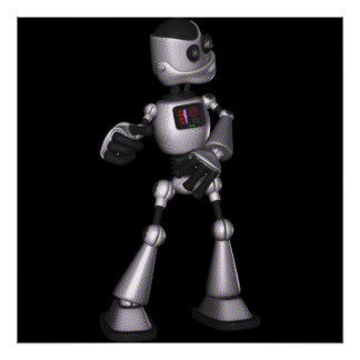 ♪♫♪ 3D Halftone Sci-Fi Robot Guy Dancing Poster