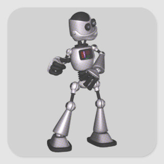 ♪♫♪ 3D Halftone Sci-Fi Robot Guy Dancing Square Sticker