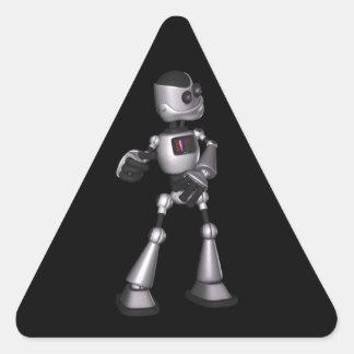 ♪♫♪ 3D Halftone Sci-Fi Robot Guy Dancing Triangle Sticker