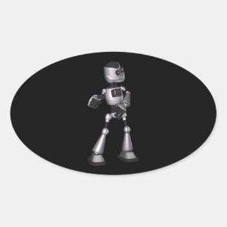 ♪♫♪ 3D Halftone Sci-Fi Robot Guy Dancing Oval Sticker