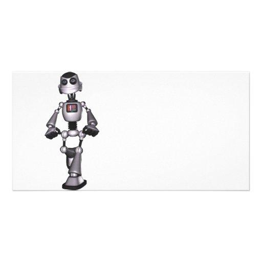 3D Halftone Sci-Fi Robot Guy Photo Card