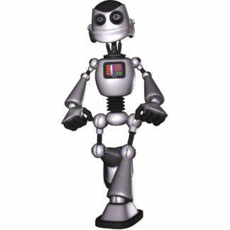 3D Halftone Sci-Fi Robot Guy Standing Photo Sculpture
