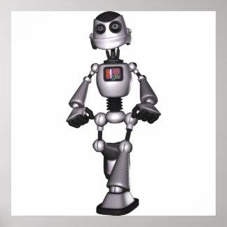 3D Halftone Sci-Fi Robot Guy Print