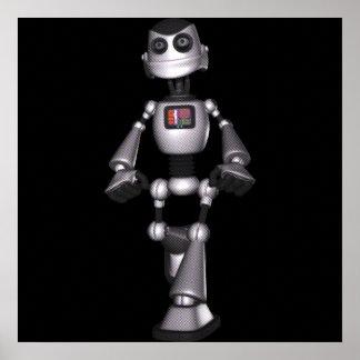 3D Halftone Sci-Fi Robot Guy Poster