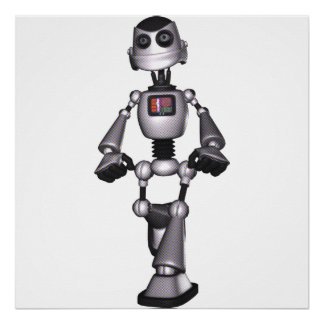 3D Halftone Sci-Fi Robot Guy Posters