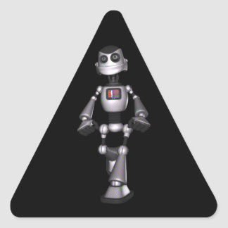 3D Halftone Sci-Fi Robot Guy Triangle Sticker