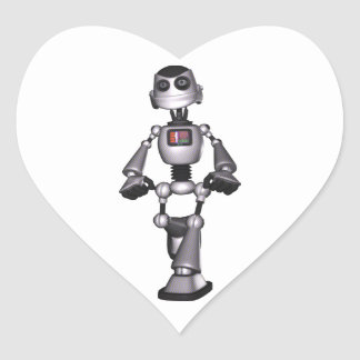 3D Halftone Sci-Fi Robot Guy Heart Sticker