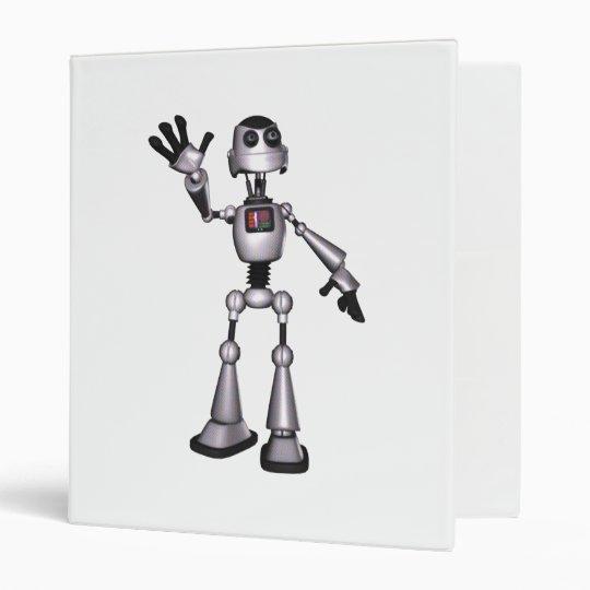 3D Halftone Sci-Fi Robot Guy Waving 3 Ring Binder