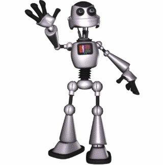 3D Halftone Sci-Fi Robot Guy Waving Cut Outs