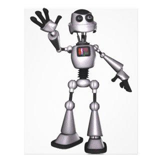 3D Halftone Sci-Fi Robot Guy Waving Flyer