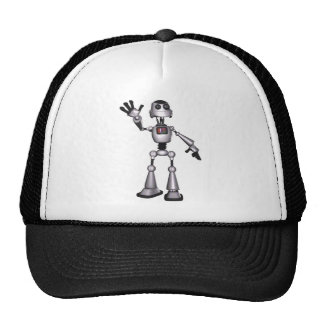 3D Halftone Sci-Fi Robot Guy Waving Trucker Hats