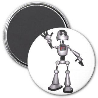 3D Halftone Sci-Fi Robot Guy Waving Magnet
