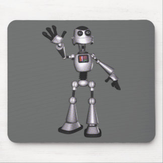 3D Halftone Sci-Fi Robot Guy Waving Mouse Pad
