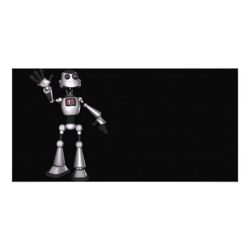 3D Halftone Sci-Fi Robot Guy Waving Personalized Photo Card