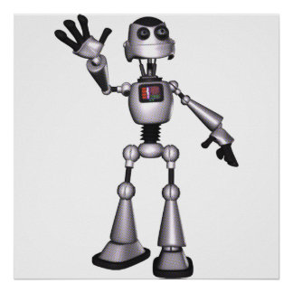3D Halftone Sci-Fi Robot Guy Waving Print