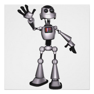 3D Halftone Sci-Fi Robot Guy Waving Posters