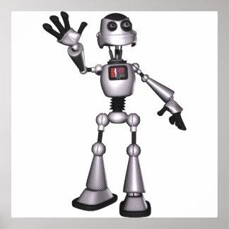 3D Halftone Sci-Fi Robot Guy Waving Poster