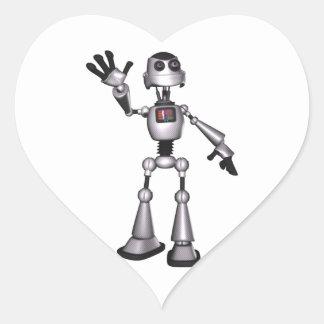 3D Halftone Sci-Fi Robot Guy Waving Heart Sticker