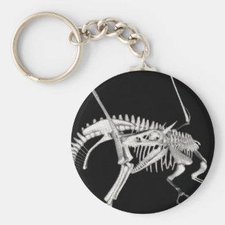 3D Halftone Skeleton Dragon 3 Basic Round Button Keychain