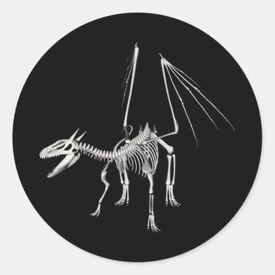 3D Halftone Skeleton Dragon 5 Classic Round Sticker