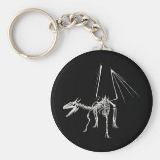 3D Halftone Skeleton Dragon 5 Basic Round Button Keychain
