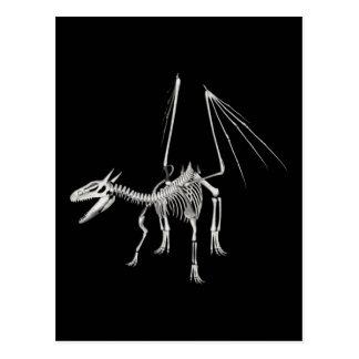3D Halftone Skeleton Dragon 5 Postcard