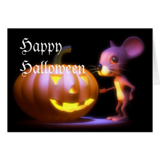 3d Happy Halloween Mouse Pumpkin Greeting Cards