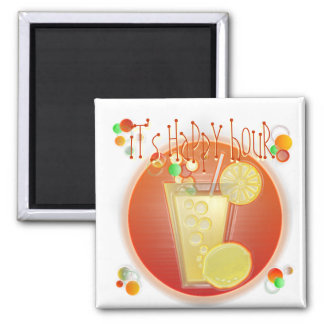 3D Happy Hour Cocktail (white) Magnet