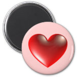 3d Heart / Glass 2 Inch Round Magnet