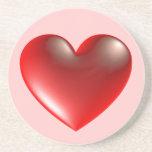 3d Heart / Glass Drink Coaster