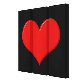 3D Heart Triptych Wrapped Canvas Canvas Print