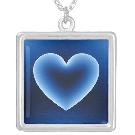 3d Heart / X-Ray Square Pendant Necklace