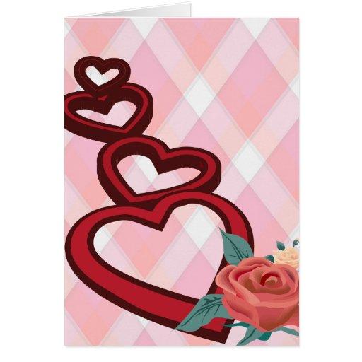 3d Hearts Love Card