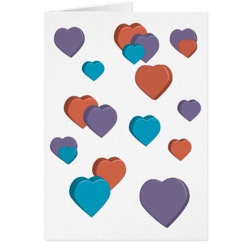 3D Hearts Valentine Card